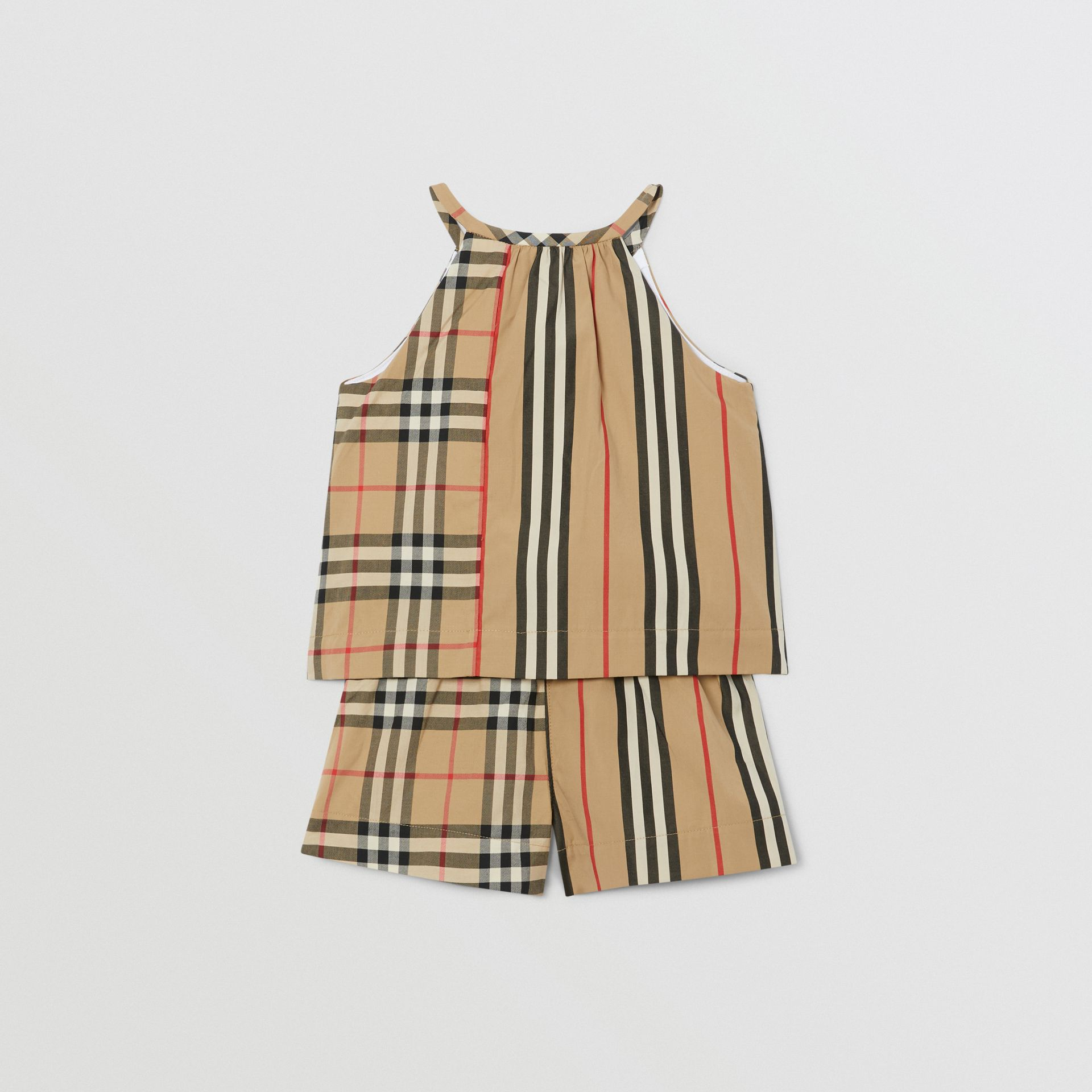 Vintage Check and Icon Stripe Cotton Playsuit in Archive Beige - Children | Burberry - gallery image 3
