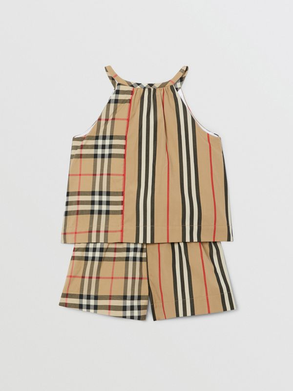 Vintage Check and Icon Stripe Cotton Playsuit in Archive Beige - Children | Burberry - cell image 3