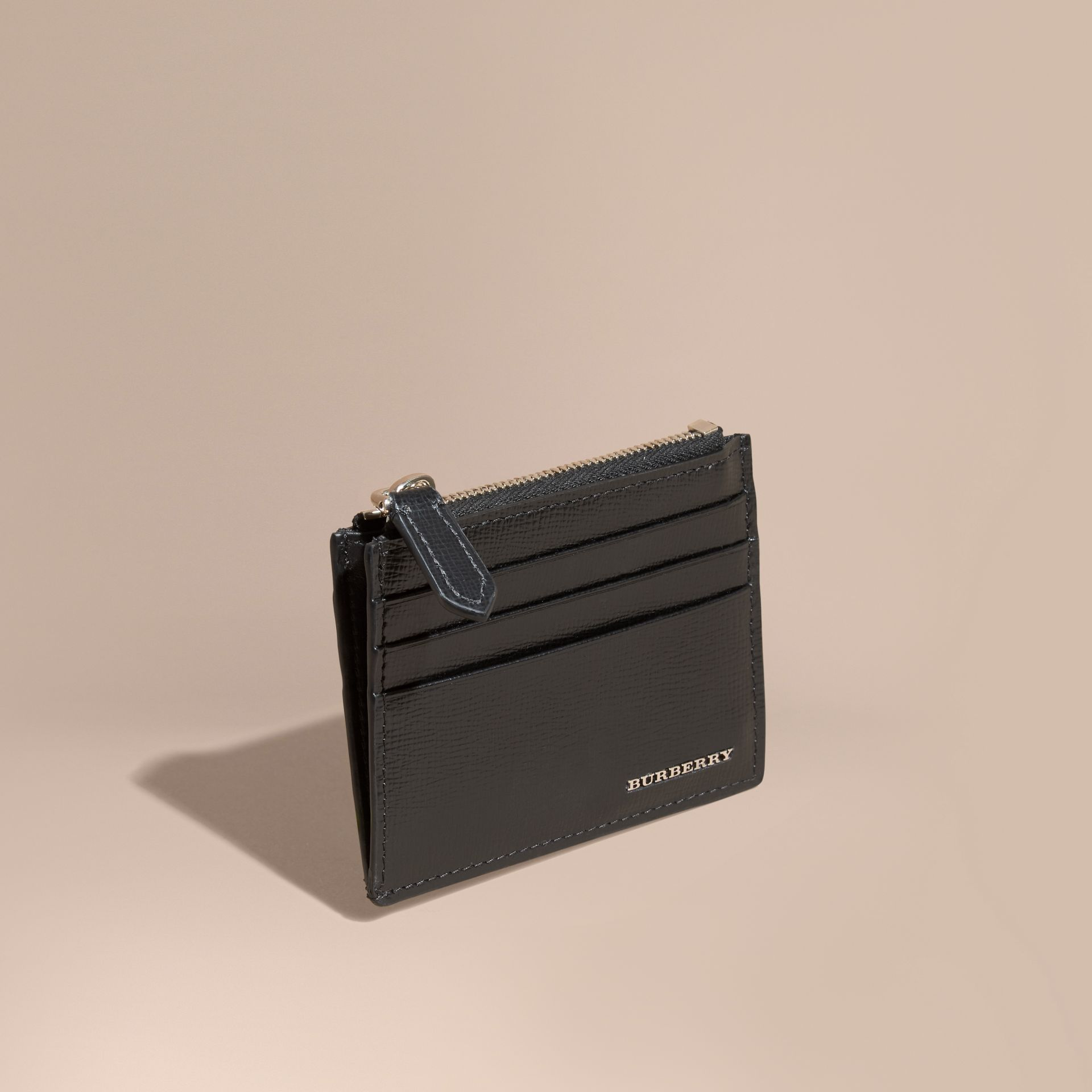 Black London Leather Zip-top Card Case Black - gallery image 1