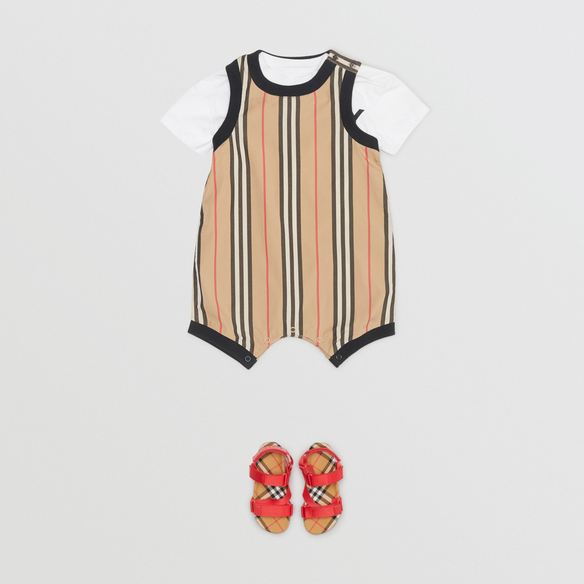 Icon Stripe Cotton Bodysuit in Archive Beige - Children | Burberry - gallery image 2