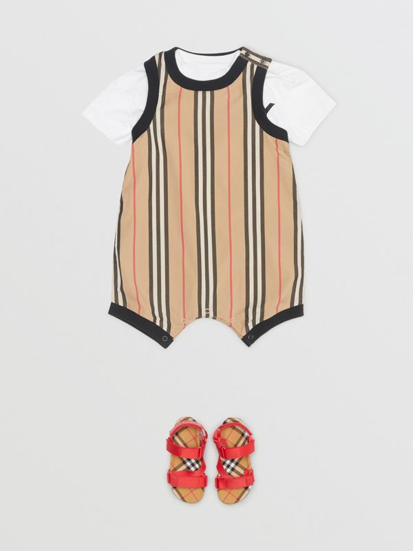 Icon Stripe Cotton Bodysuit in Archive Beige - Children | Burberry - cell image 2