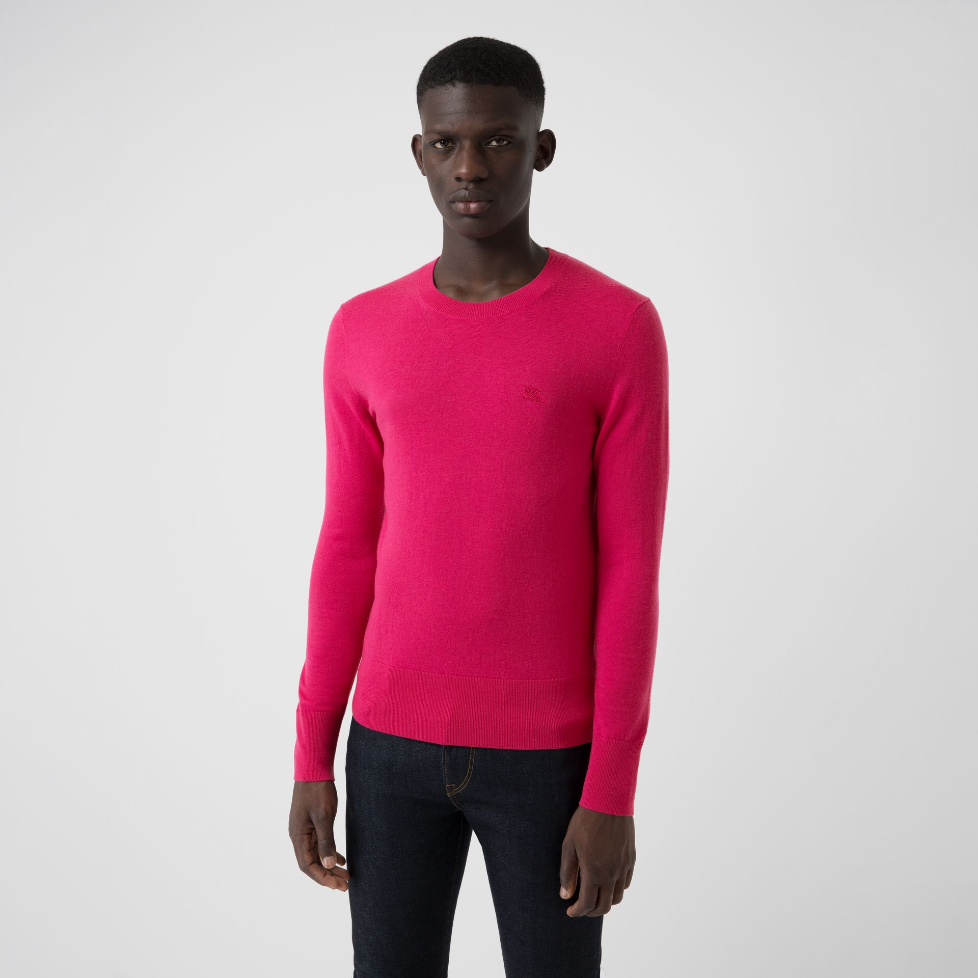 Crew Neck Cashmere Sweater in Bright Pink - Men | Burberry - gallery image 0