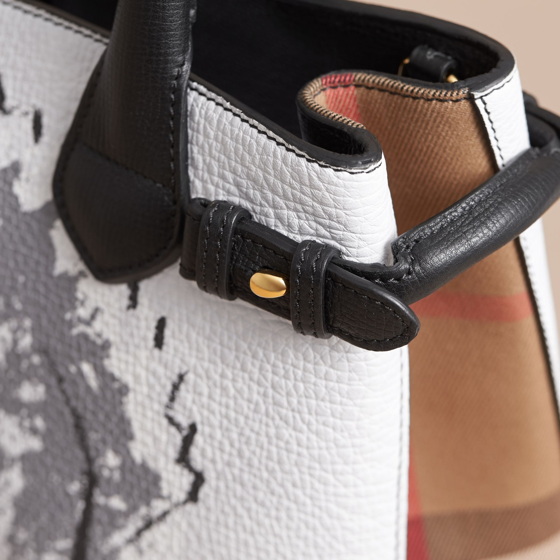 The Small Banner in Leather with Pallas Heads Print in Black - Women | Burberry - gallery image 7