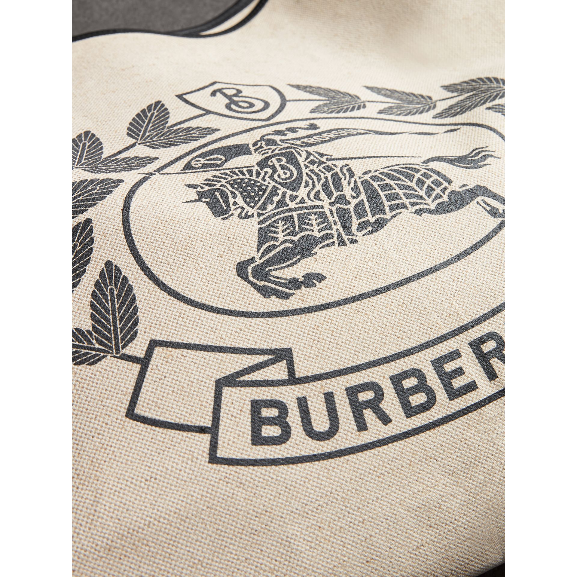 Medium Archive Logo Canvas and Leather Shopper in Black - Women | Burberry - gallery image 1