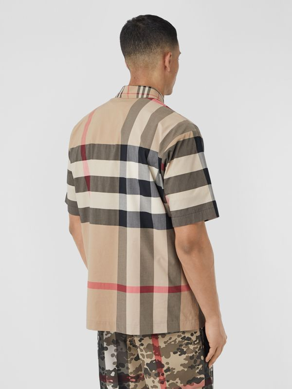 Short-sleeve Panelled Check Stretch Cotton Shirt in Archive Beige | Burberry United Kingdom - cell image 2