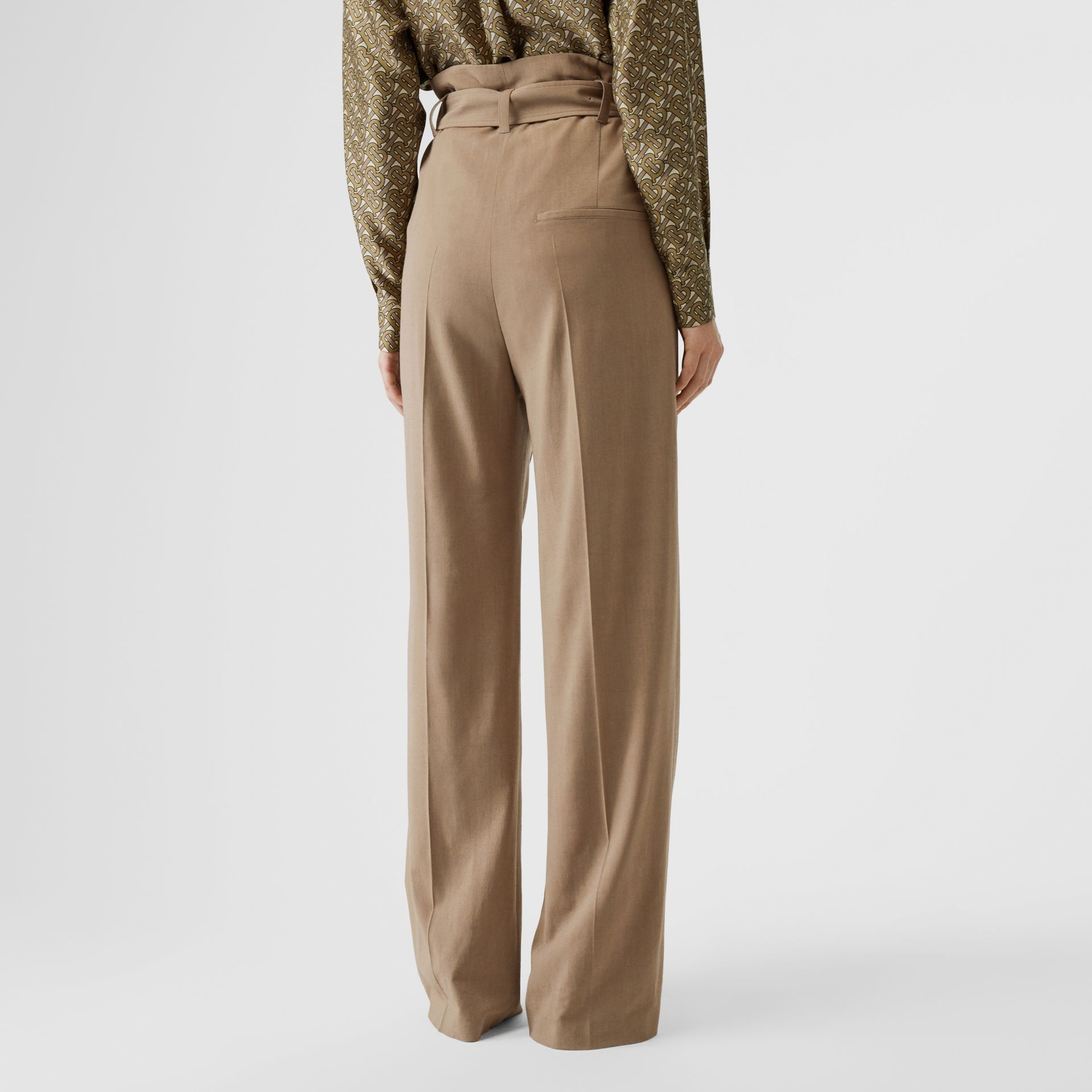 Wool Blend High-waisted Trousers in Warm Taupe - Women | Burberry - gallery image 2