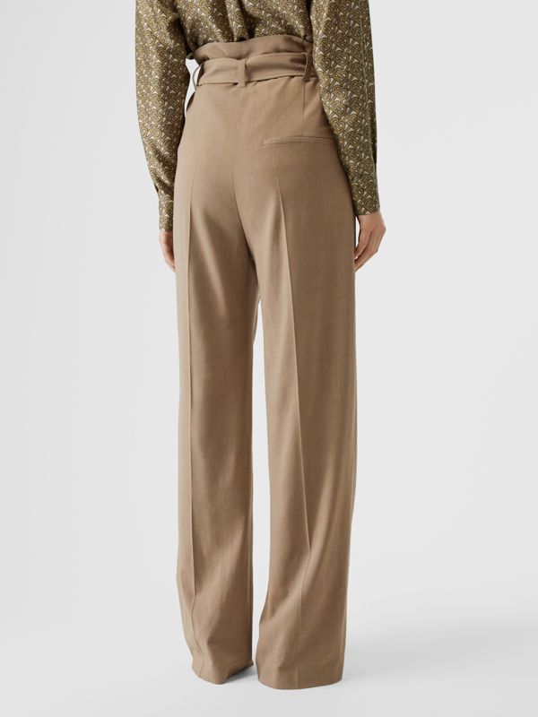Wool Blend High-waisted Trousers in Warm Taupe - Women | Burberry - cell image 2