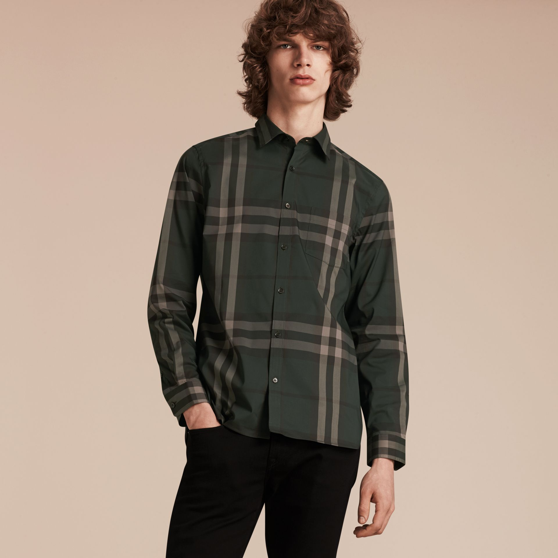 Racing green Check Stretch Cotton Shirt Racing Green - gallery image 6