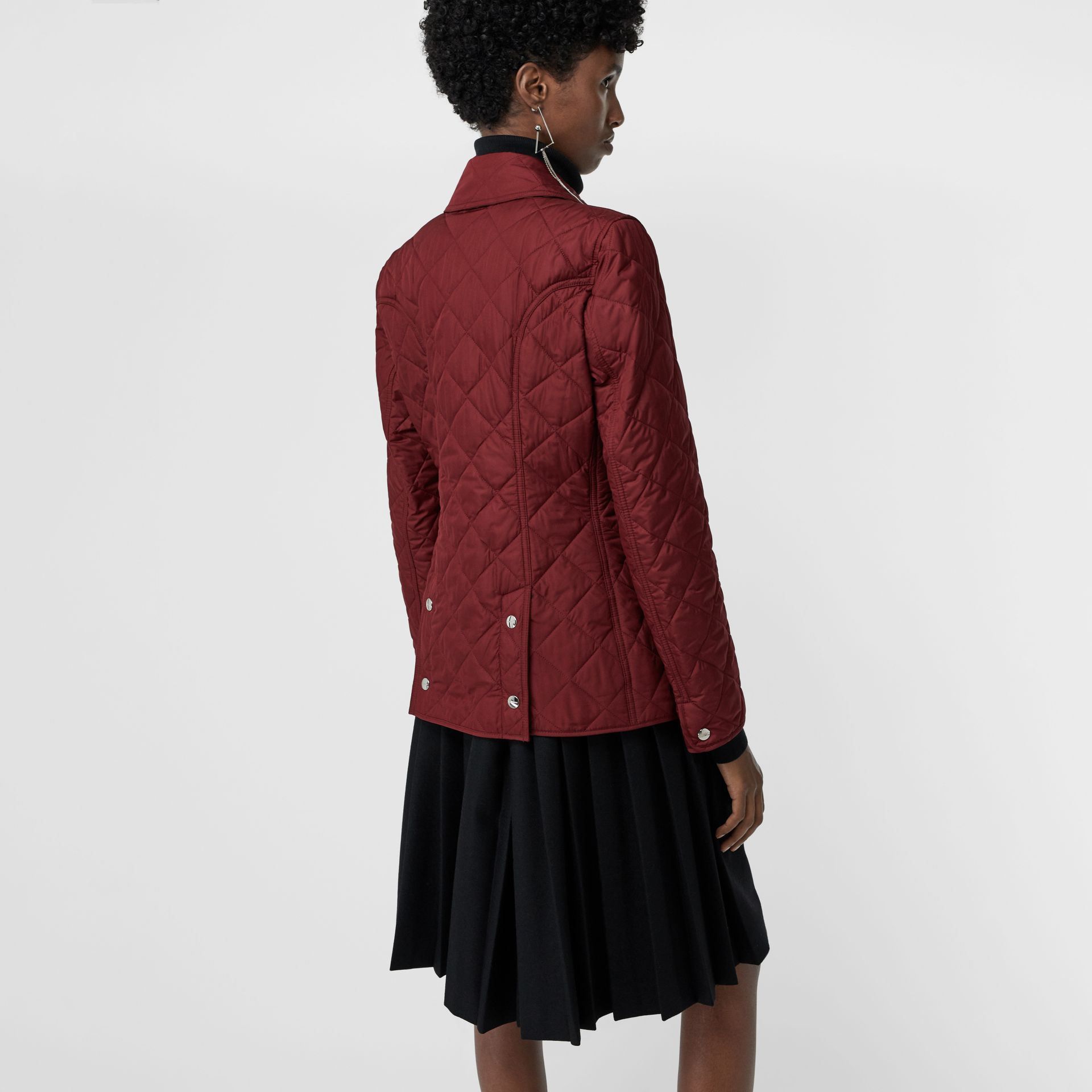 Embroidered Crest Diamond Quilted Jacket in Damson - Women | Burberry Australia - gallery image 2