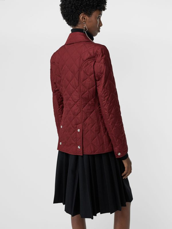 Embroidered Crest Diamond Quilted Jacket in Damson - Women | Burberry Australia - cell image 2
