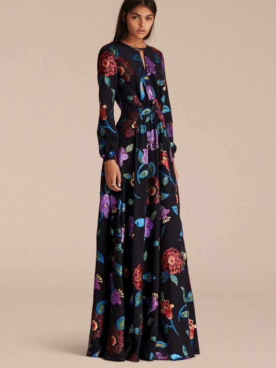Floral Fil Coupé Silk Gown