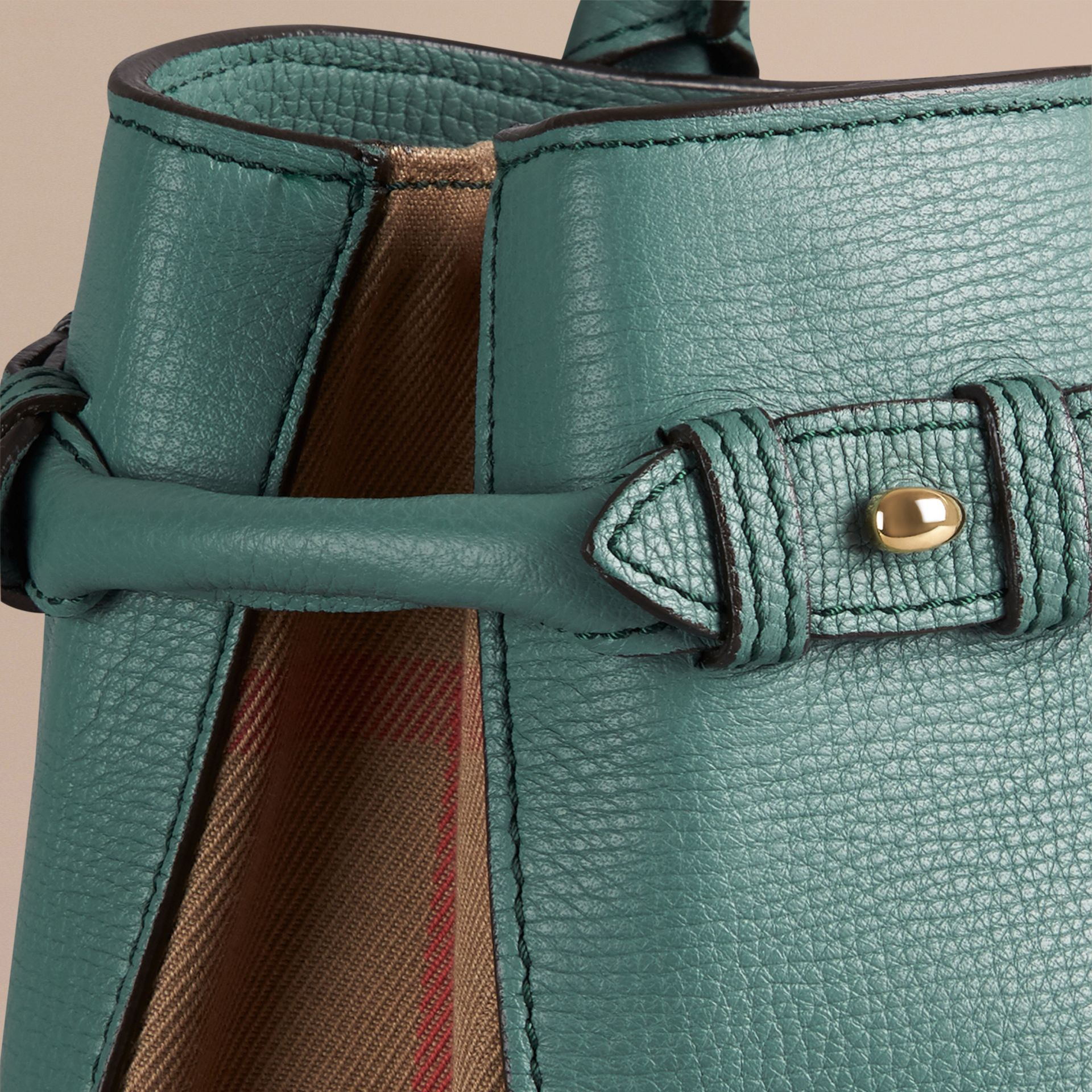 The Medium Banner in Leather and House Check Smokey Green - gallery image 6