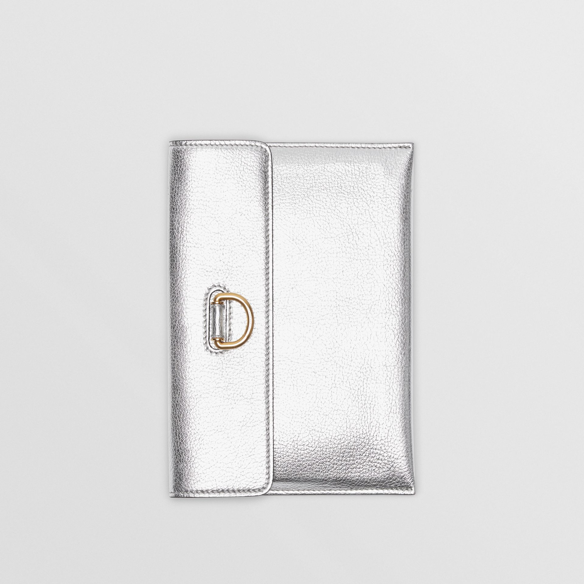 D-ring Metallic Leather Pouch with Zip Coin Case in Silver - Women | Burberry - gallery image 4