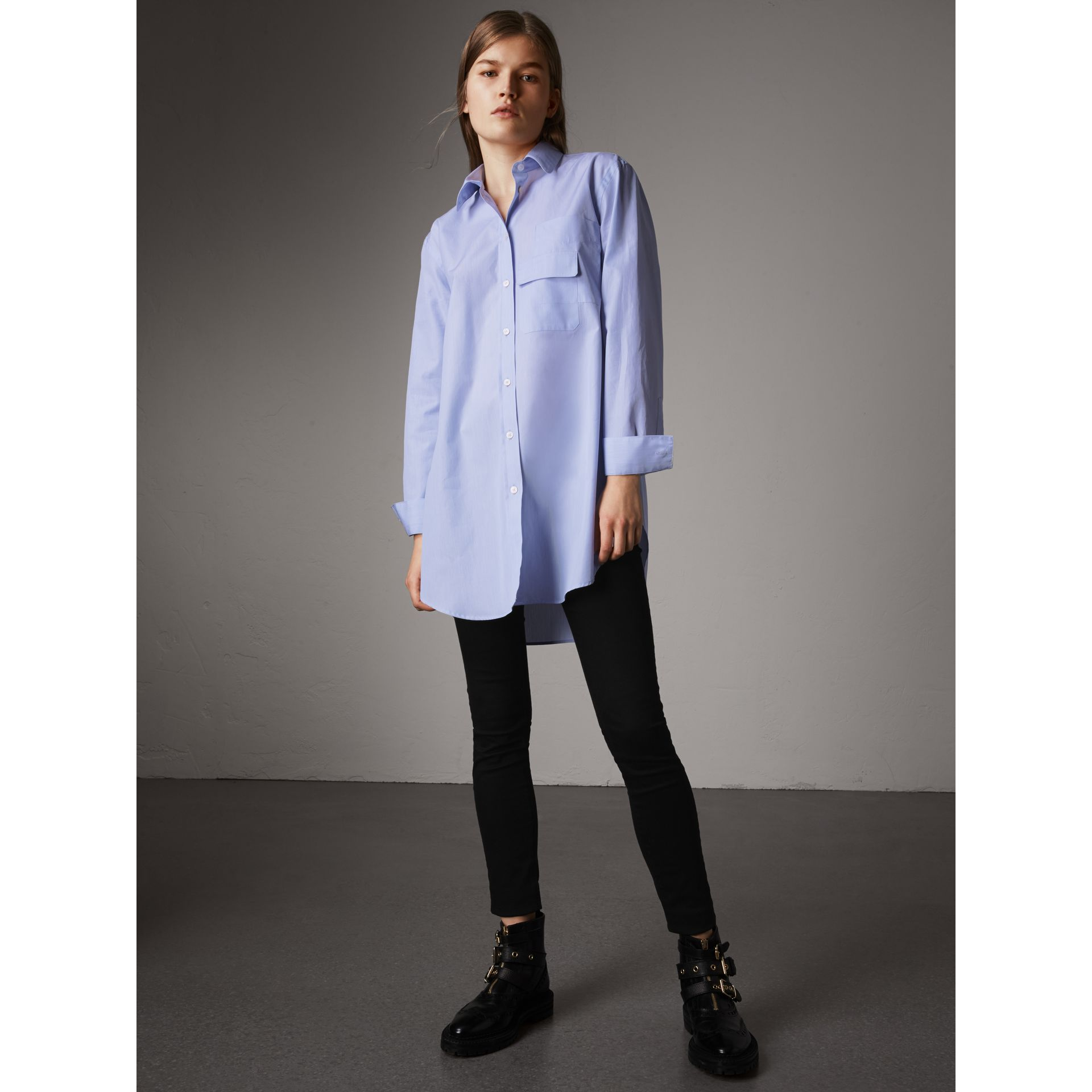 Double Pocket Cotton Oversize Shirt in Pale Blue - Women | Burberry - gallery image 1