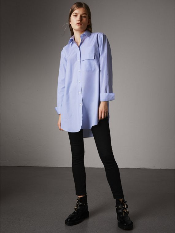 Double Pocket Cotton Oversize Shirt in Pale Blue
