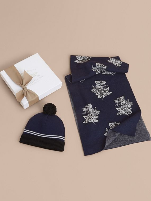 Set regalo da due pezzi in cashmere con motivo Bestiario (Navy)