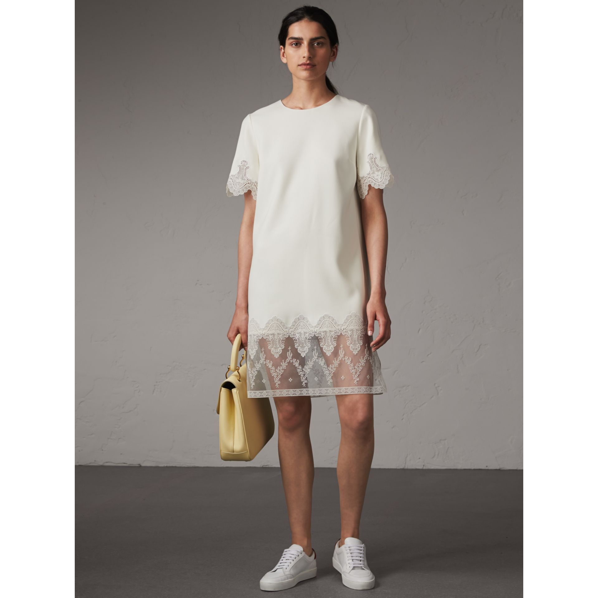 Lace and Silk Shift Dress in Natural White - Women | Burberry - gallery image 1