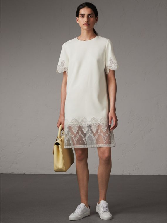 Lace and Silk Shift Dress in Natural White