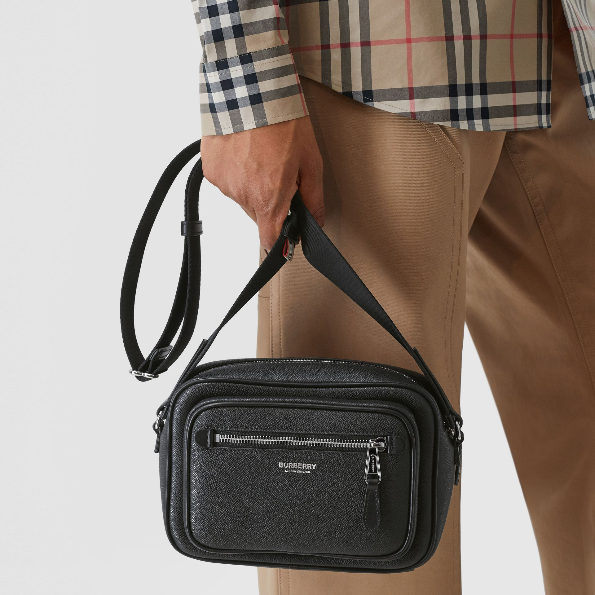 Grainy Leather Crossbody Bag in Black - Men | Burberry - gallery image 2