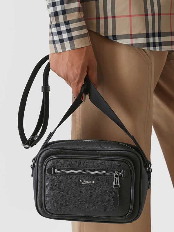 Grainy Leather Crossbody Bag in Black - Men | Burberry - cell image 2