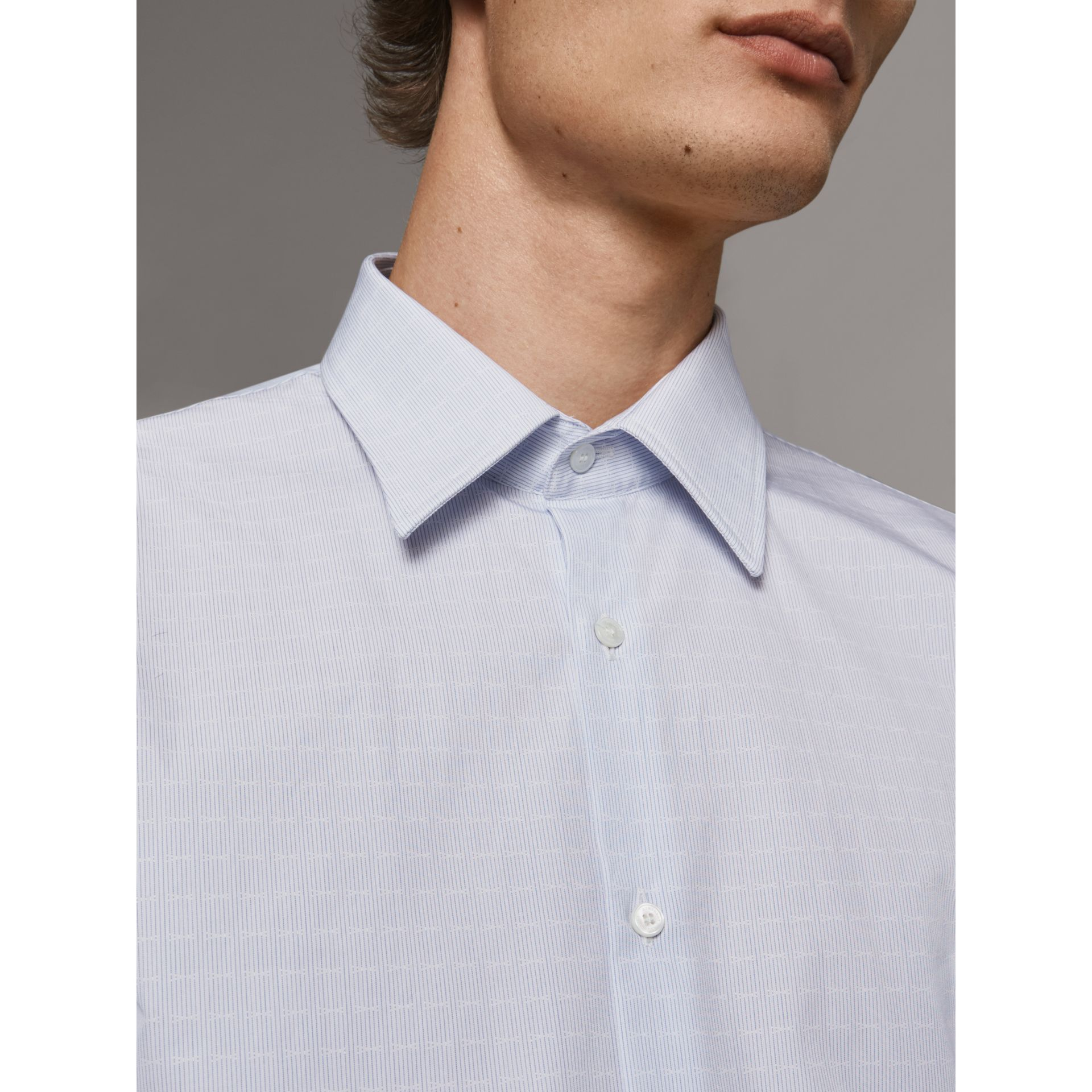 Modern Fit Geometric Dobby Cotton Shirt in Pale Blue - Men | Burberry - gallery image 4