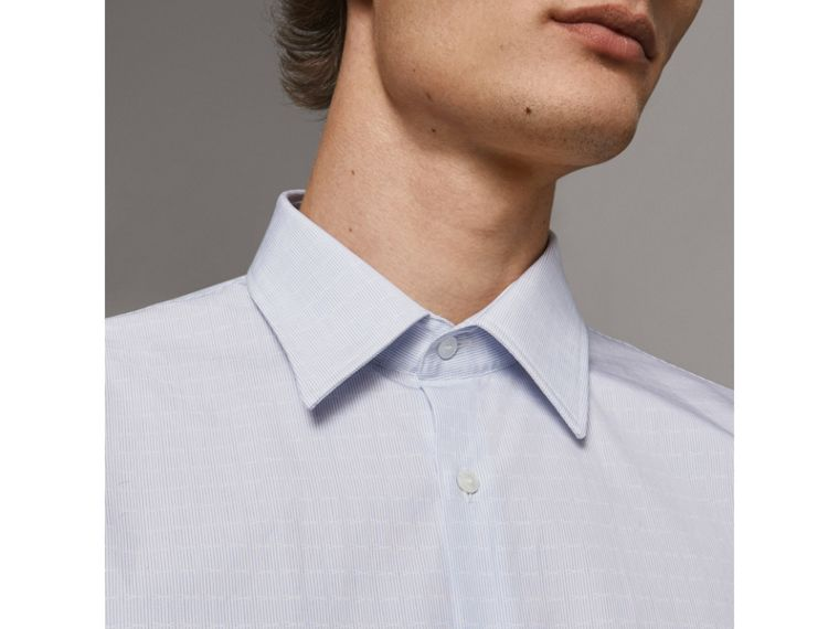 Modern Fit Geometric Dobby Cotton Shirt in Pale Blue - Men | Burberry - cell image 4