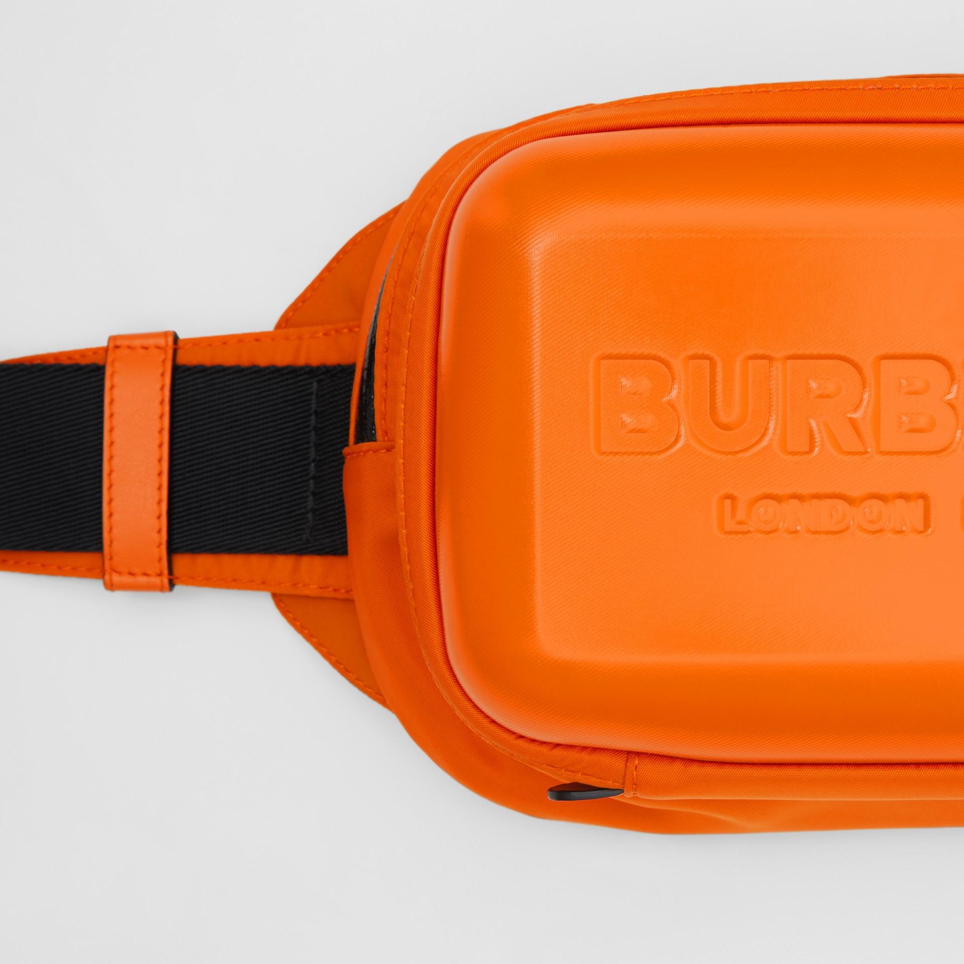 Logo Embossed Panel Nylon Bum Bag in Bright Orange - Men | Burberry United Kingdom - gallery image 1