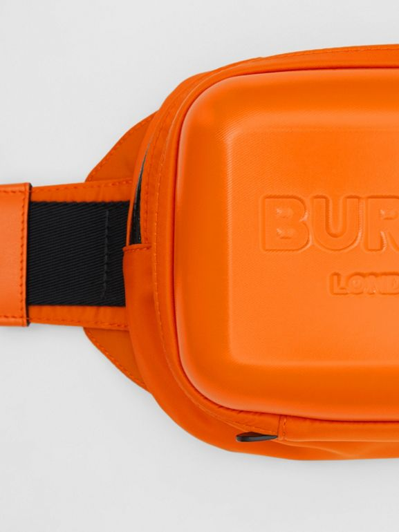 Logo Embossed Panel Nylon Bum Bag in Bright Orange - Men | Burberry United Kingdom - cell image 1
