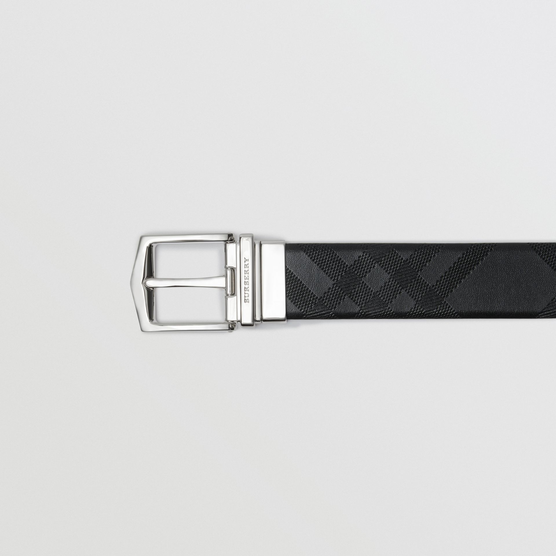 Reversible London Leather Belt in Black - Men | Burberry United States - gallery image 1