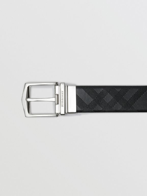 Reversible London Leather Belt in Black - Men | Burberry United States - cell image 1
