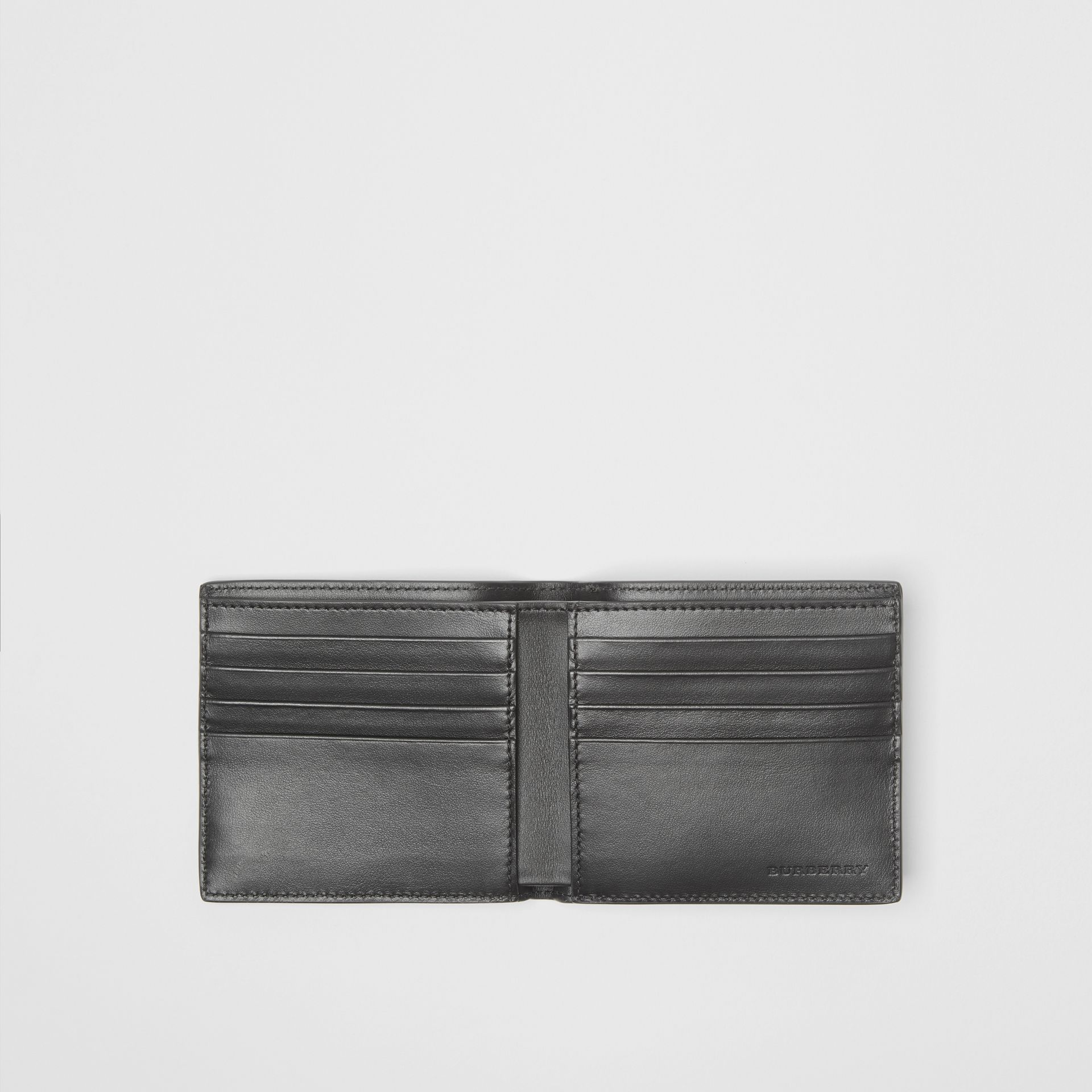 Contrast Logo Leather International Bifold Wallet in Storm Blue - Men | Burberry United States - gallery image 2