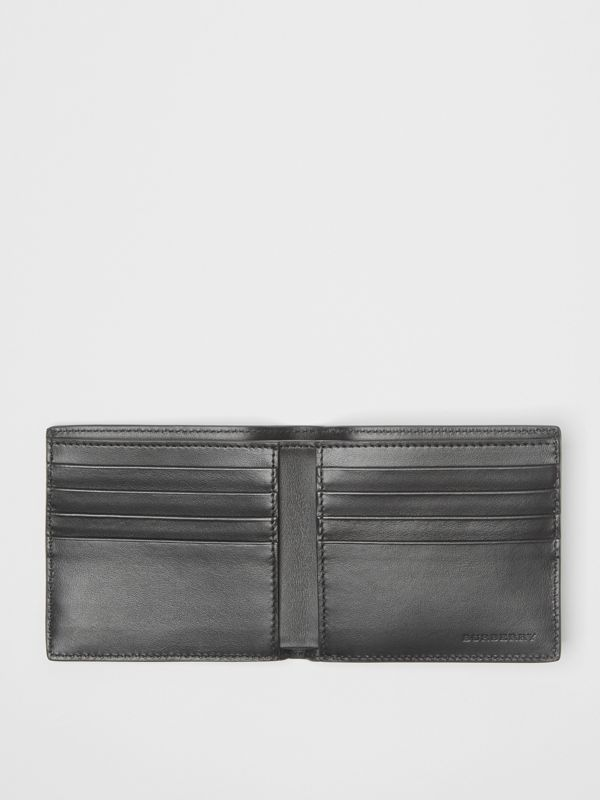 Contrast Logo Leather International Bifold Wallet in Storm Blue - Men | Burberry - cell image 2