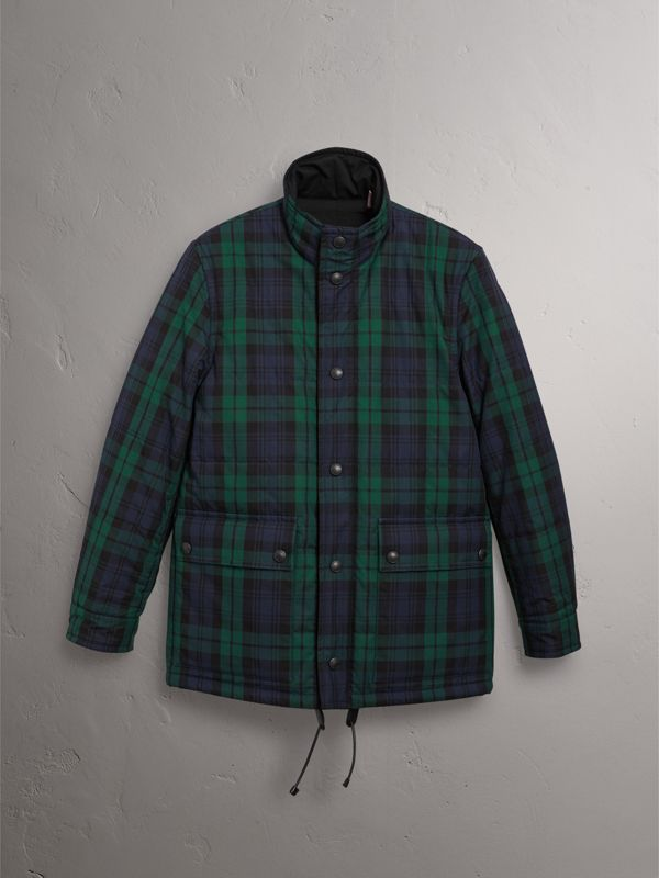 Reversible Quilted Tartan Cotton Jacket in Bright Navy - Men | Burberry - cell image 3