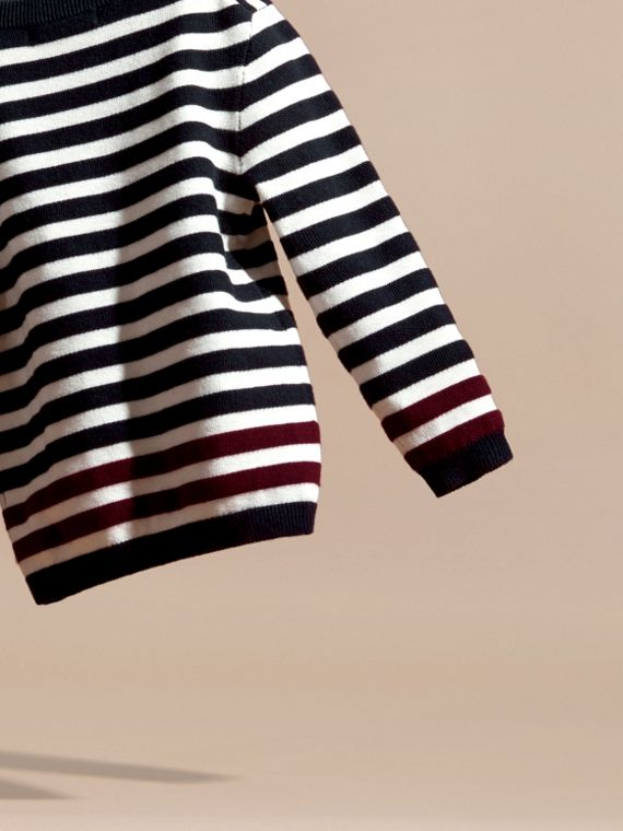 Navy Striped Cashmere Cotton Sweater - cell image 3