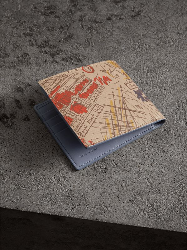 London Print Leather International Bifold Wallet in Multicolour - Men | Burberry - cell image 2