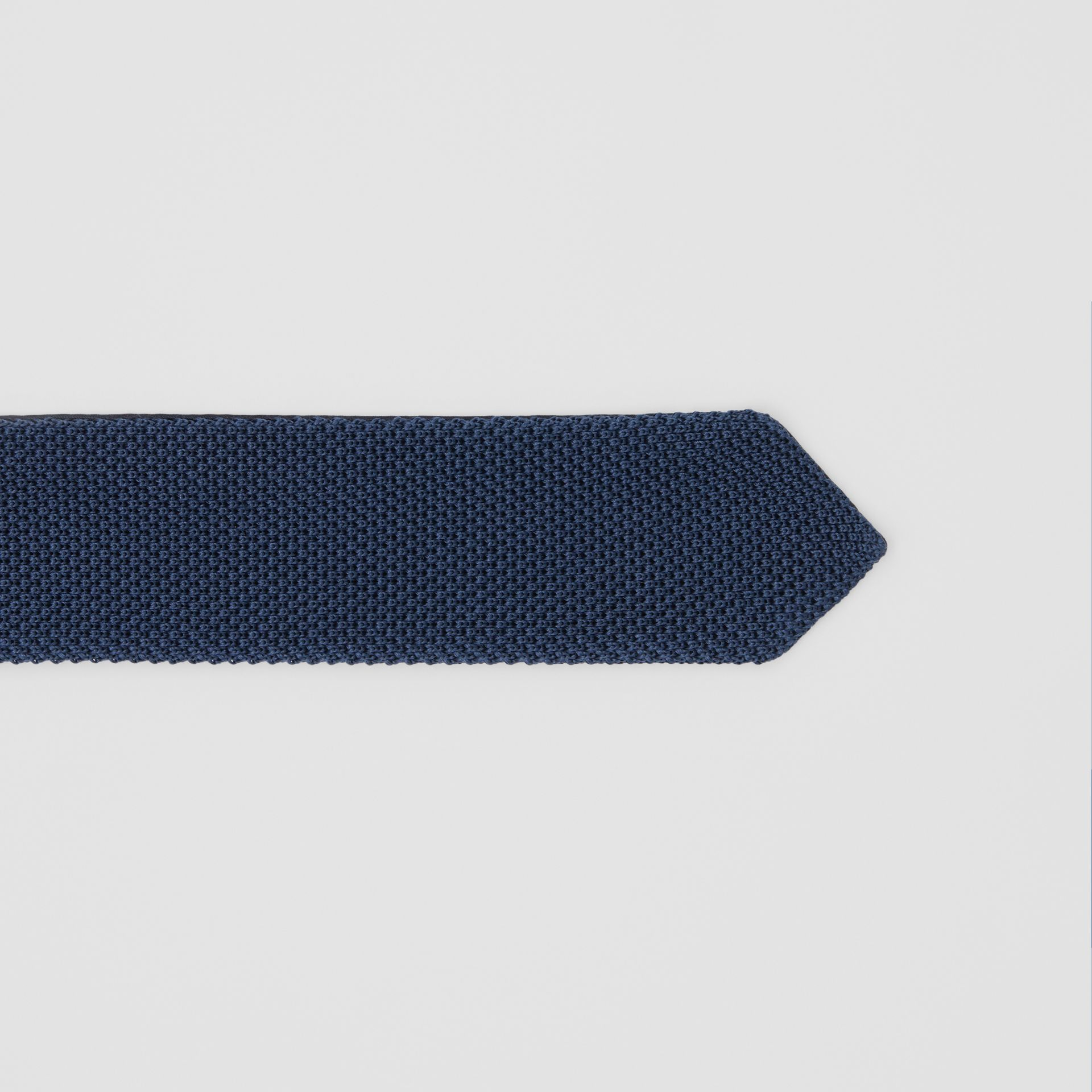 Slim Cut Knit Silk Tie in Navy - Men | Burberry United Kingdom - gallery image 1