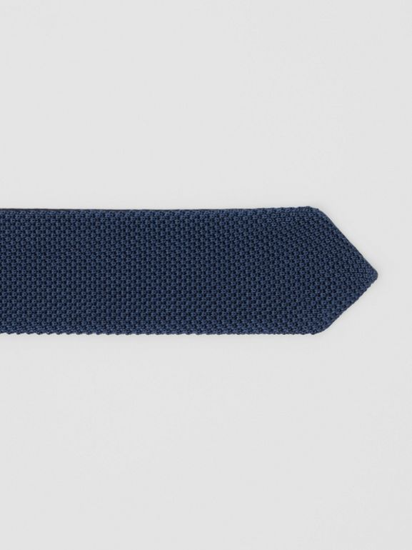 Slim Cut Knit Silk Tie in Navy - Men | Burberry United Kingdom - cell image 1