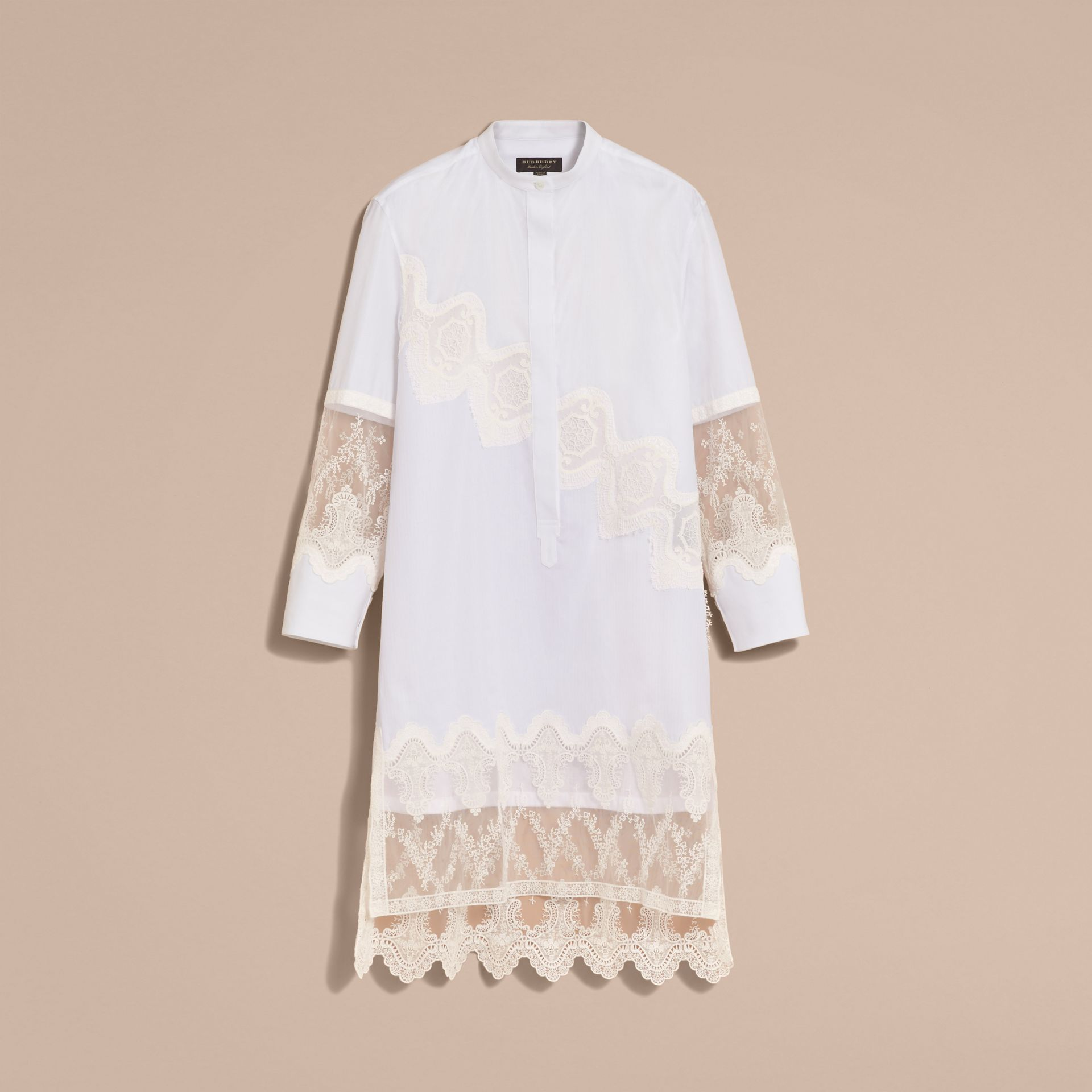 Lace Cutwork Cotton Shirt Dress in White - Women | Burberry - gallery image 4