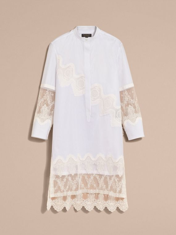 Lace Cutwork Cotton Shirt Dress in White - Women | Burberry - cell image 3