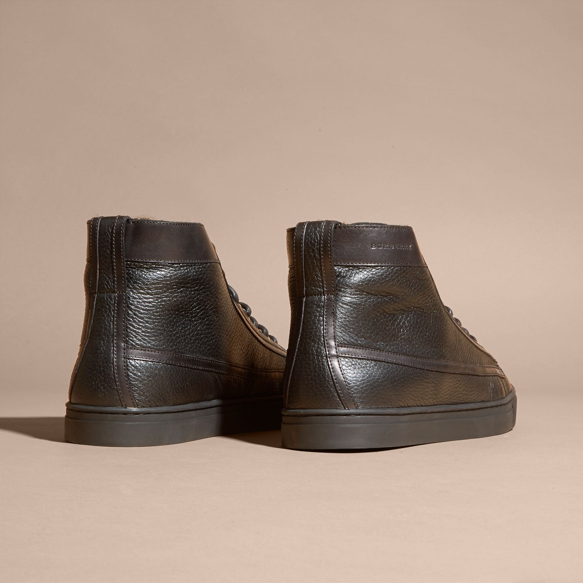 Black Shearling Lined Leather High-top Trainers - gallery image 4