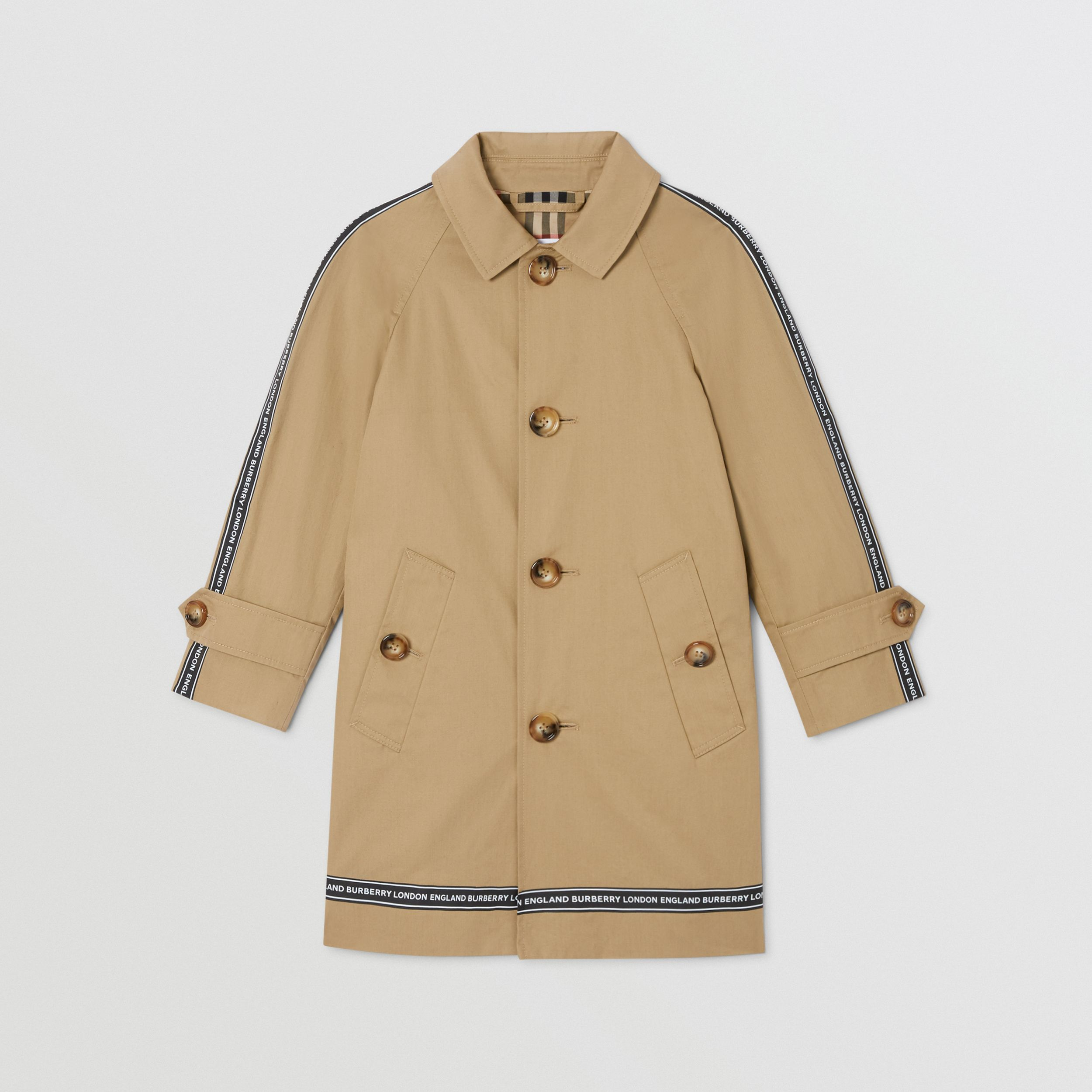 Logo Tape Cotton Car Coat in Honey | Burberry - 1
