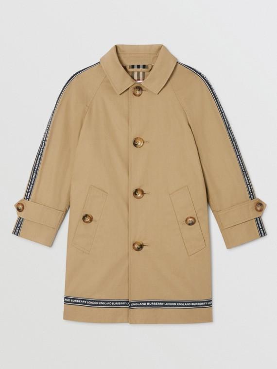 標誌飾帶棉質中長大衣 (蜜金色)