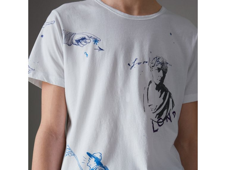 Sketch Print Cotton T-shirt in White - Men | Burberry Australia - cell image 1