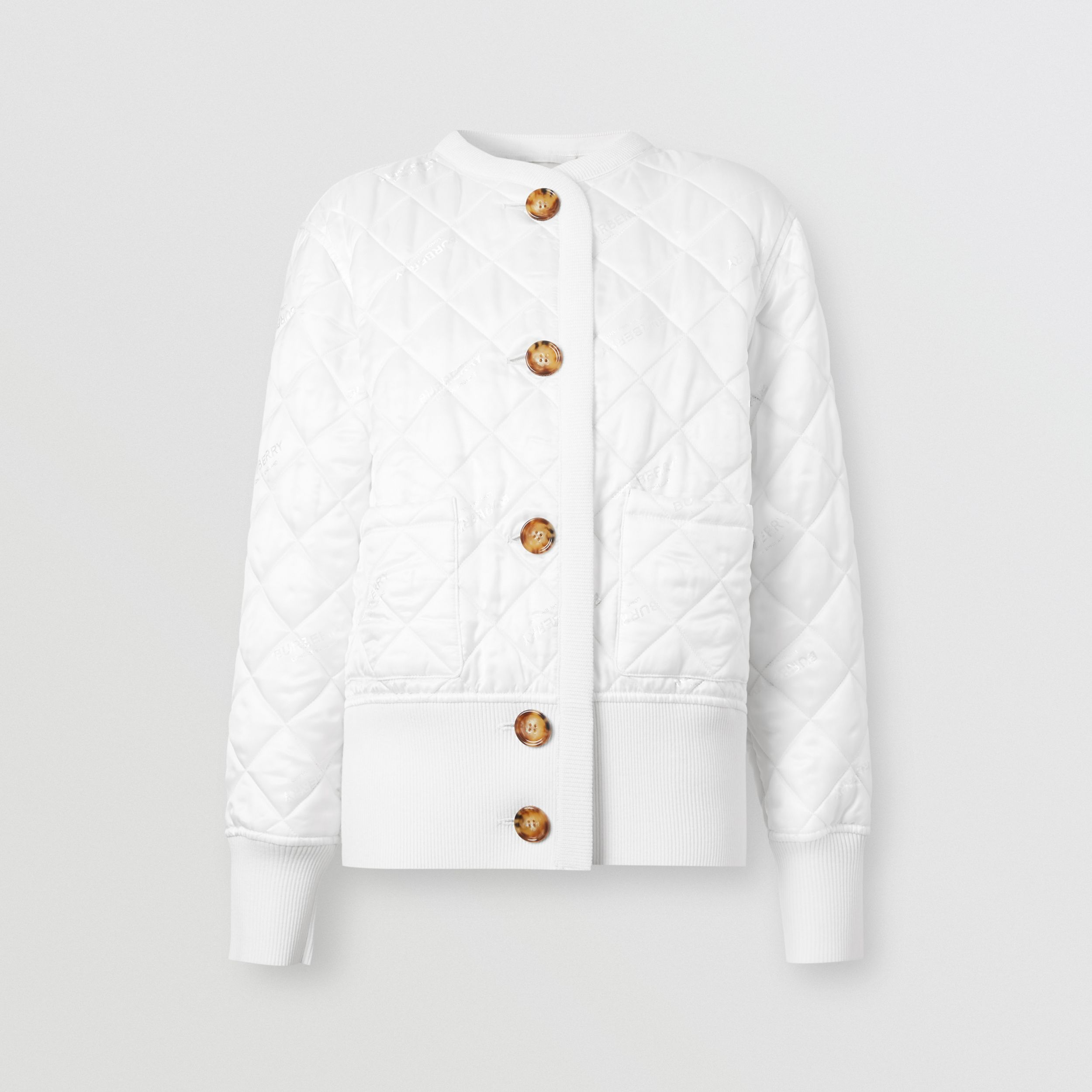 Logo Jacquard Diamond Quilted and Wool Blend Jacket in White - Women | Burberry - 4