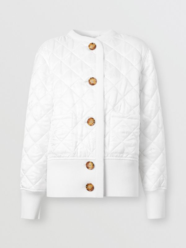 Logo Jacquard Diamond Quilted and Wool Blend Jacket in White - Women | Burberry - cell image 3