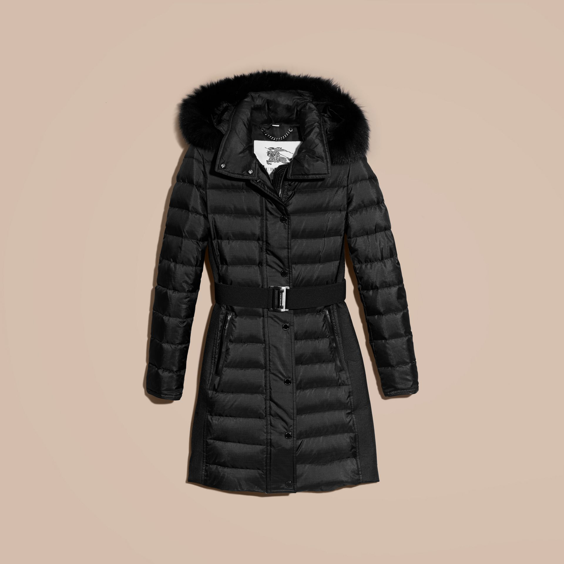 Черный Пуховое пальто с меховой опушкой Черный - изображение 4