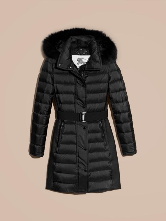 Черный Пуховое пальто с меховой опушкой Черный - cell image 3