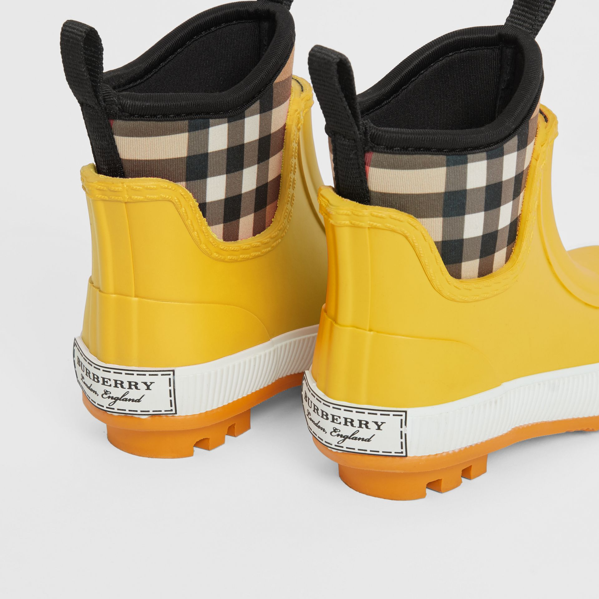 Vintage Check Neoprene and Rubber Rain Boots in Vibrant Lemon - Children | Burberry Australia - gallery image 2