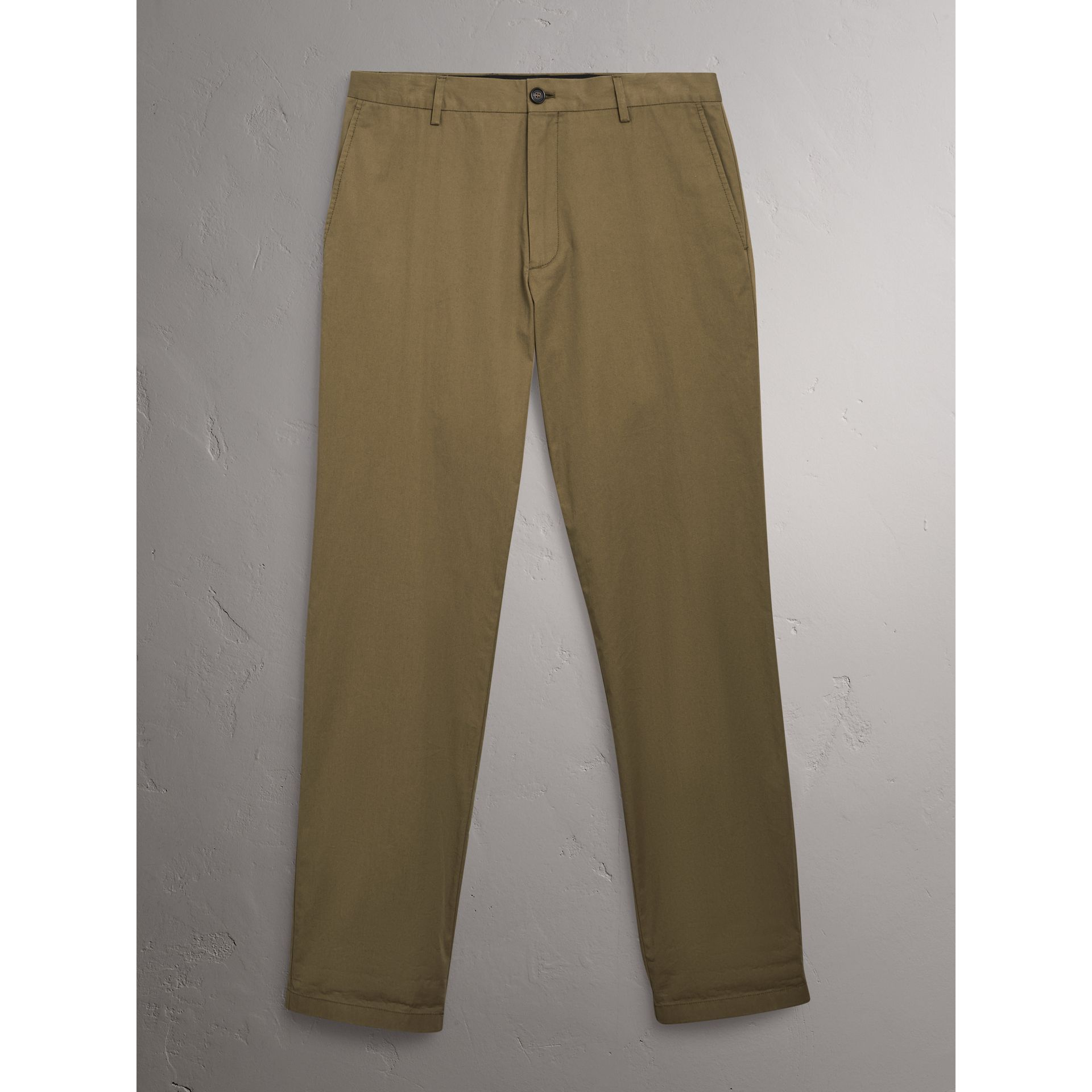 Cotton Twill Chinos in Olive Green - Men | Burberry - gallery image 2