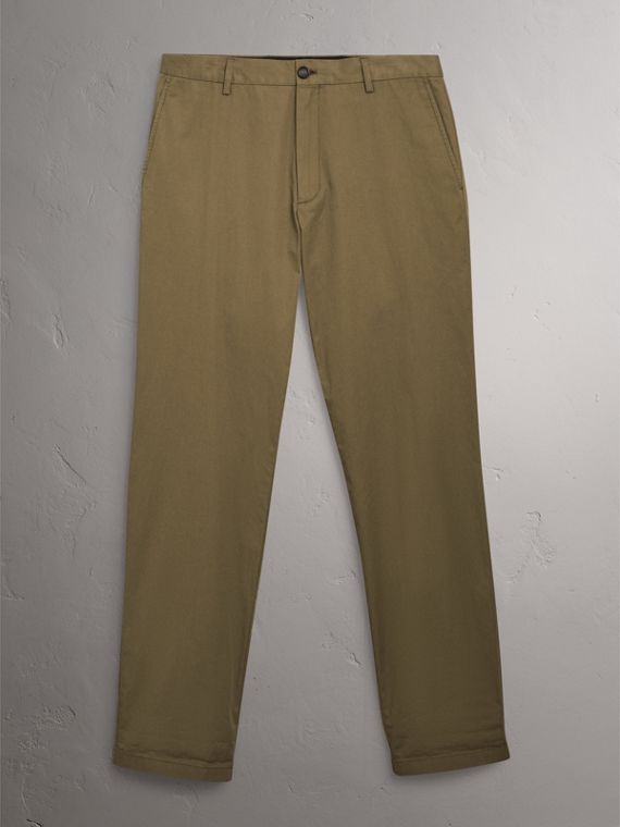 Cotton Twill Chinos in Olive Green - Men | Burberry Singapore - cell image 2